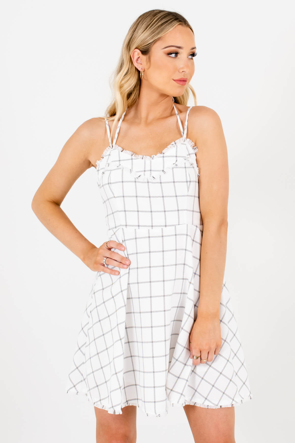 White and Black Plaid Patterned Boutique Mini Dresses for Women