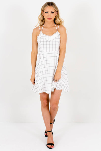 White and Black Plaid Frayed Accented Boutique Mini Dresses for Women