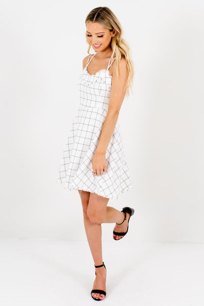 White and Black Plaid Cute and Comfortable Boutique Mini Dresses for Women