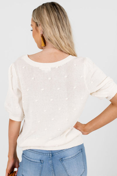 Women's Cream Casual Everyday Boutique Tops