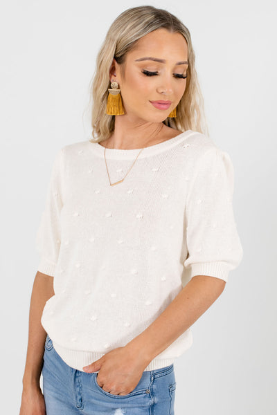 Cream Round Neckline Boutique Tops for Women