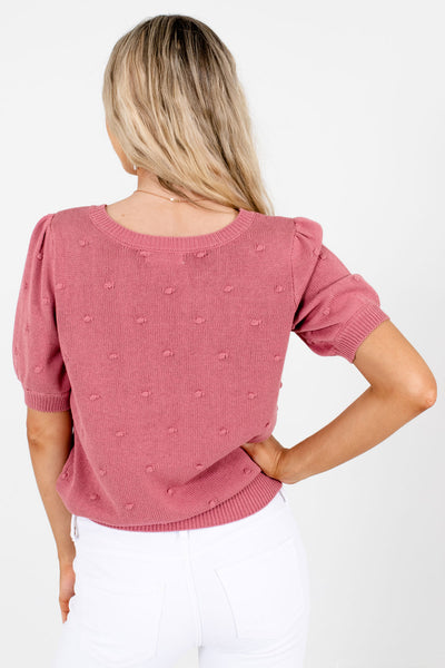 Women's Pink Polka Dot Textured Boutique Top