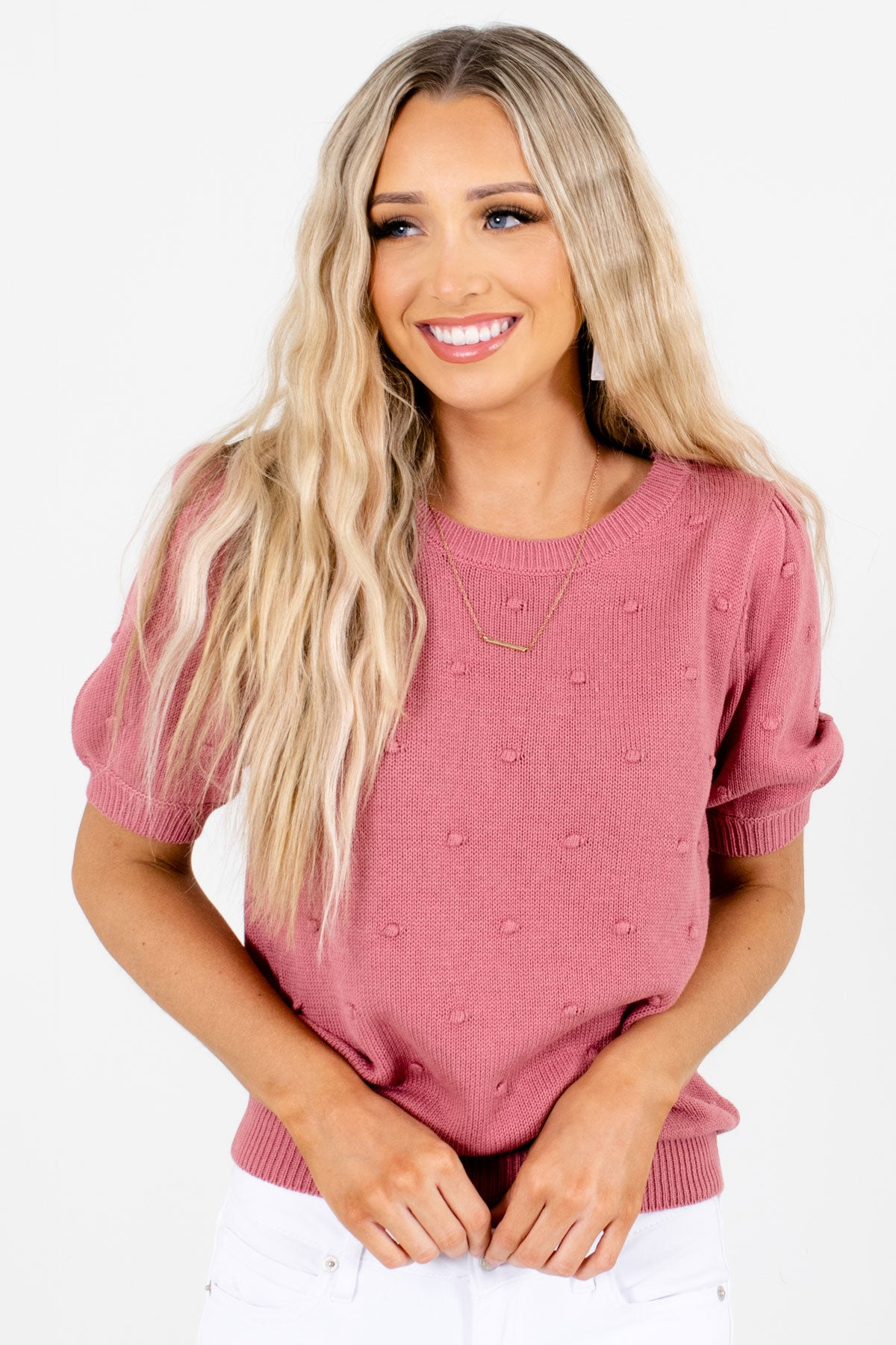 Pink High-Quality Knit Material Boutique Tops for Women