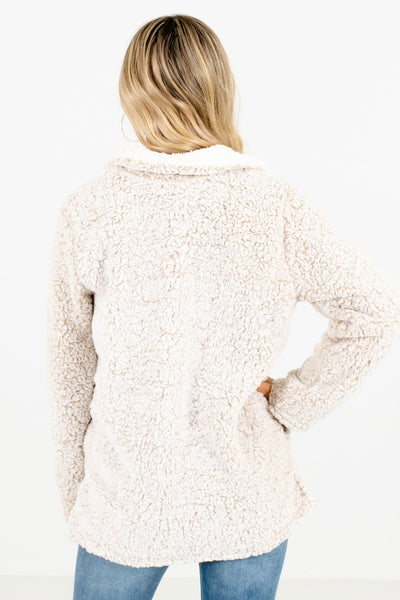 Women's Beige Zip-Up Neckline Boutique Pullover