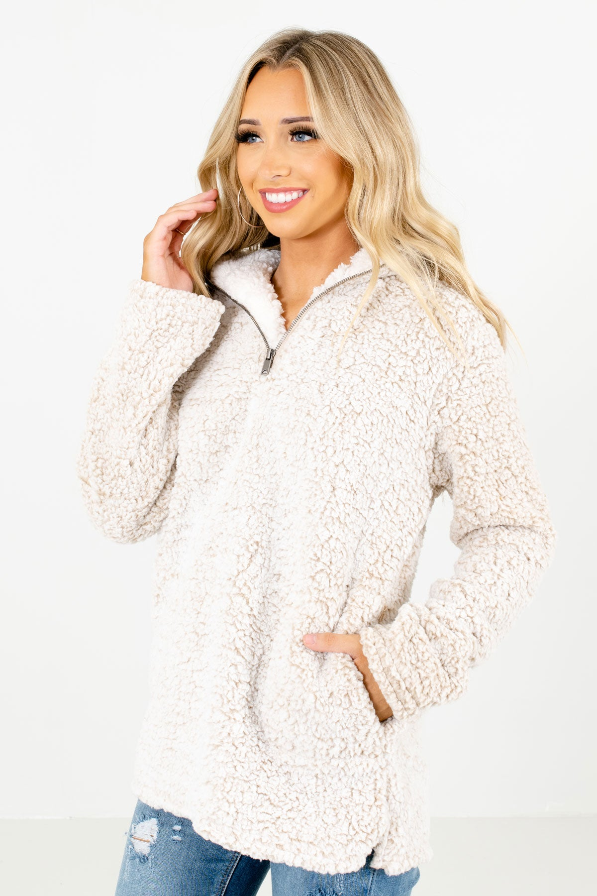 Beige Boutique Pullovers with Pockets for Women