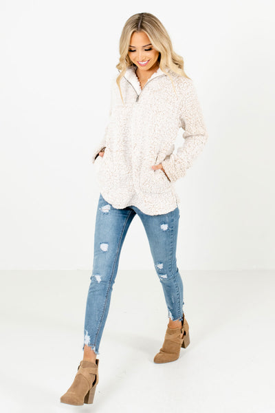 Beige Cute and Comfortable Boutique Pullovers for Women