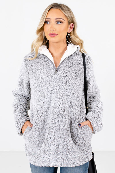Gray Faux Sherpa Material Boutique Pullovers for Women
