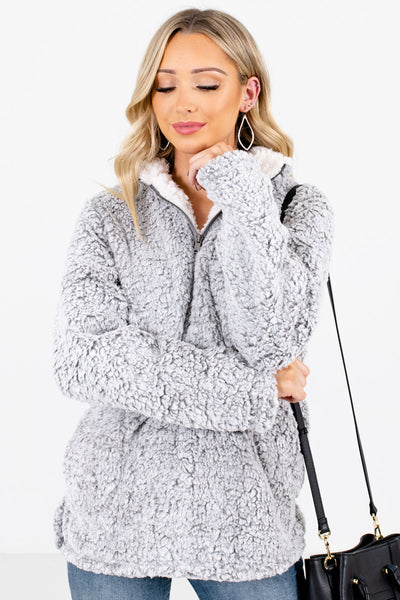 Women's Gray Warm and Cozy Boutique Pullovers