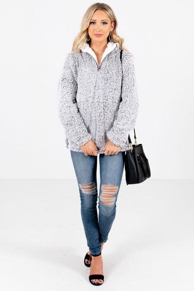 Gray Cute and Comfortable Boutique Pullovers for Women