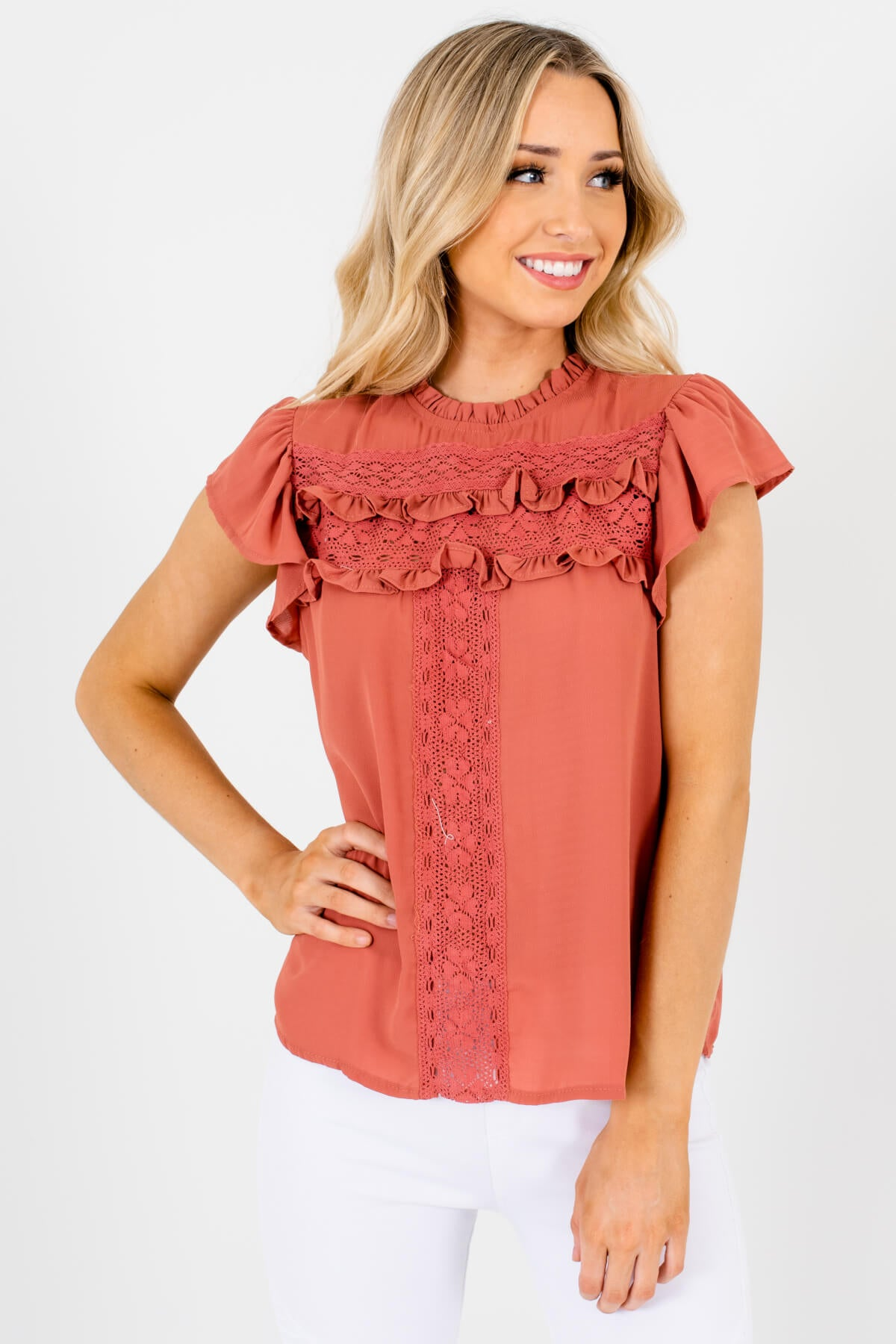 Dark Pink Ruffle Accented Boutique Blouses for Women