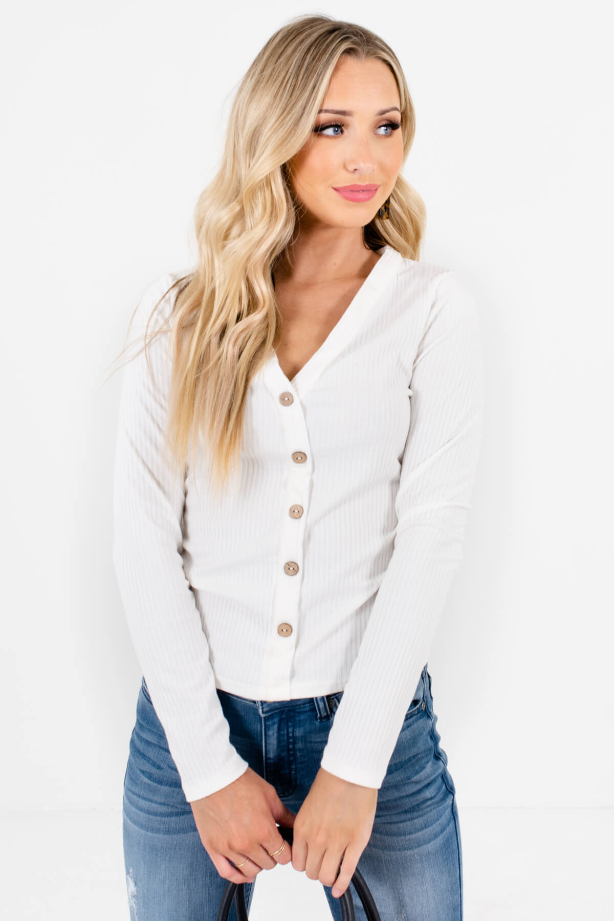 White Ribbed Material Boutique Tops for Women