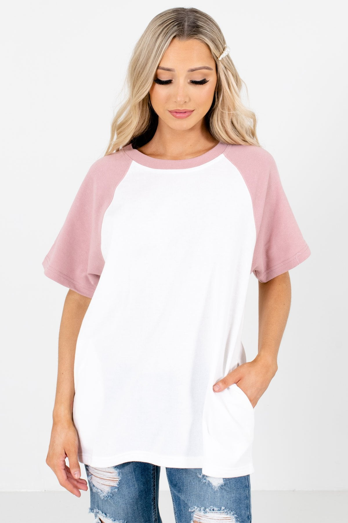 White and Pink Raglan Style Boutique T-Shirts for Women