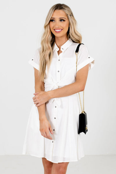 White Partially Lined Boutique Mini Dresses for Women