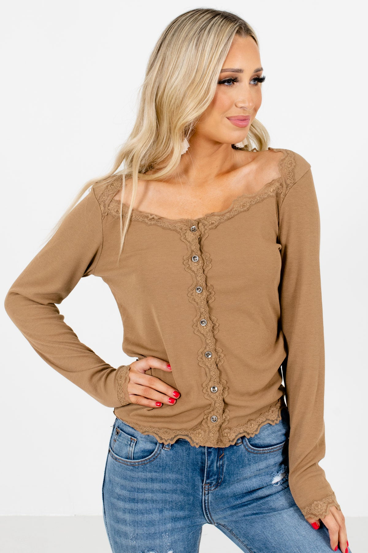 Brown Button-Up Front Boutique Tops for Women