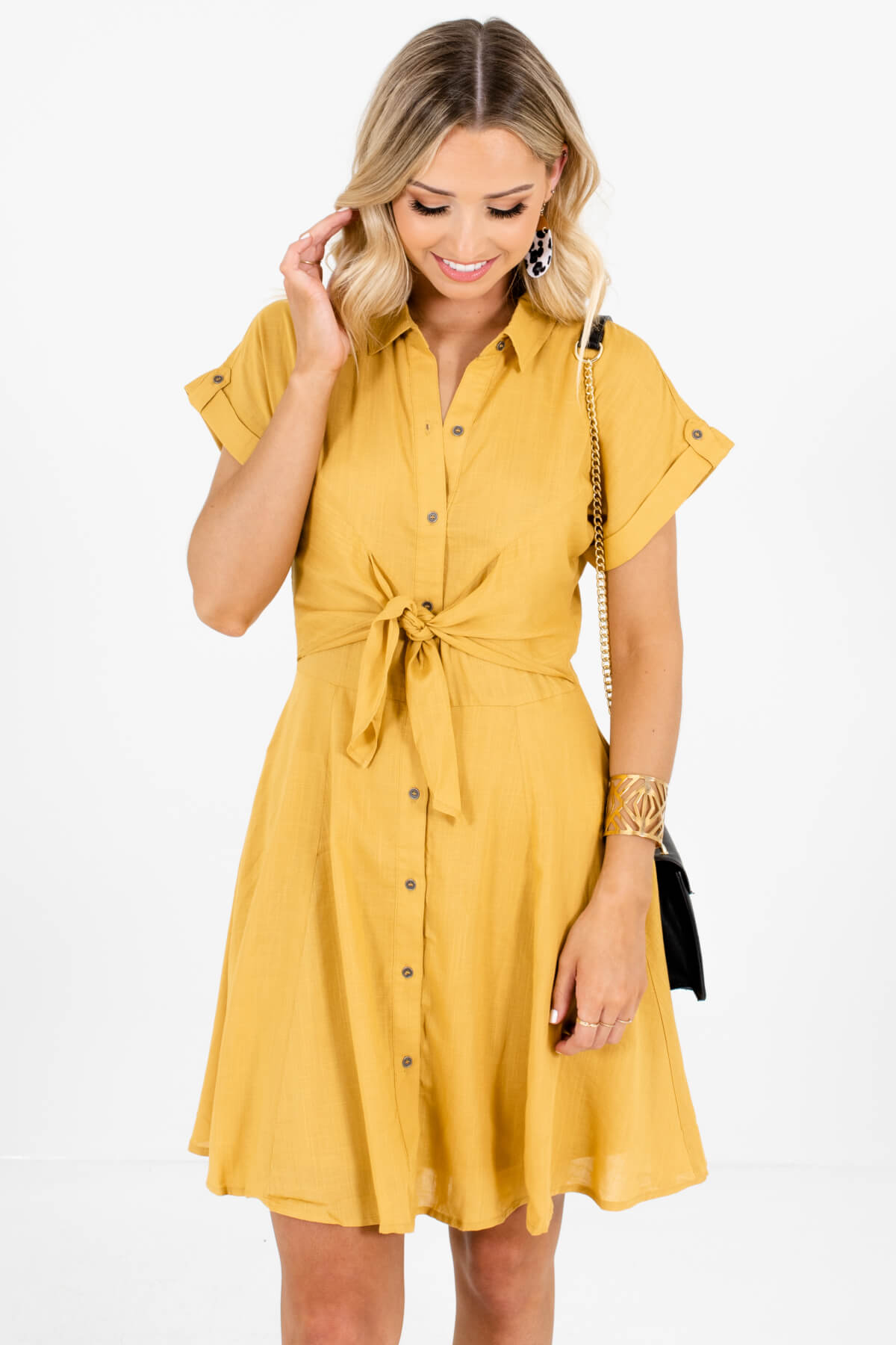Mustard Yellow Button-Up Front Boutique Mini Dresses for Women