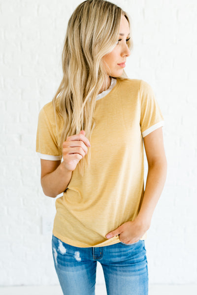 Yellow and White Cute and Affordable Boutique Ringer Style T Shirts for Women