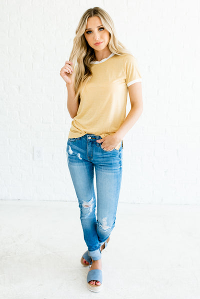 Yellow and White Women's Spring and Summertime Boutique Clothing