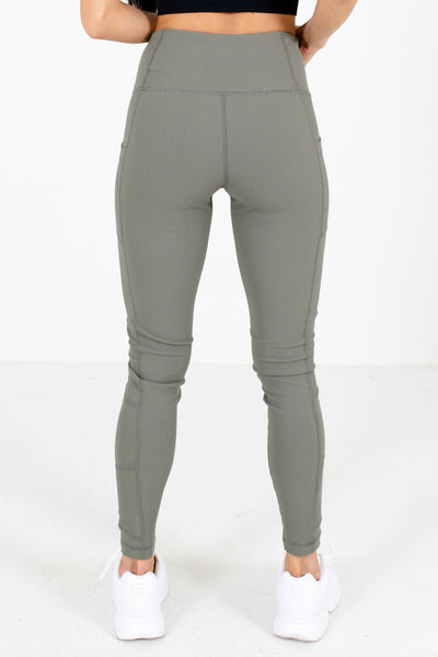 Women's Olive Green Boutique Active Leggings with Thigh Pockets