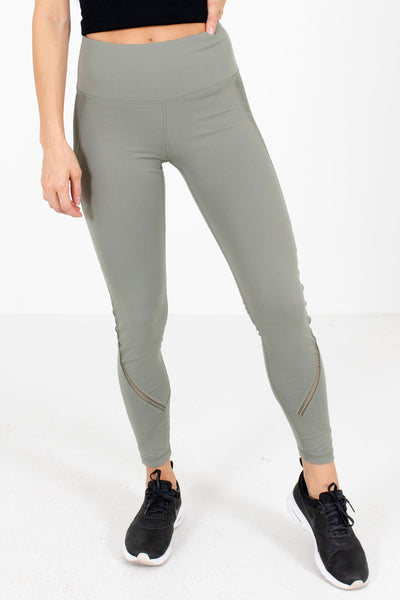 Olive Green Lace Insert Boutique Active Leggings for Women