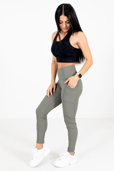 Olive Green High Waisted Style Boutique Active Leggings for Women