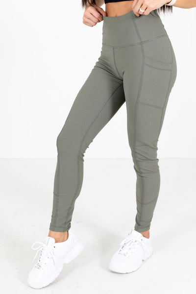 Olive Green High-Quality Ribbed Boutique Active Leggings for Women
