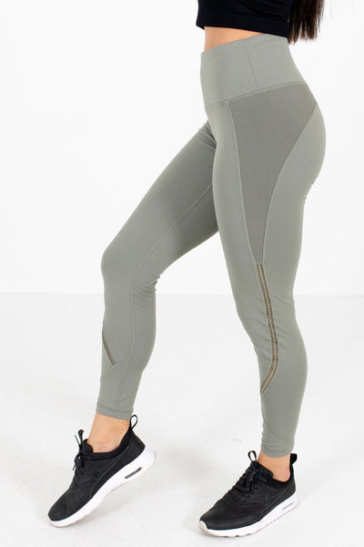 Olive Green Ribbed Accented Boutique Active Leggings for Women
