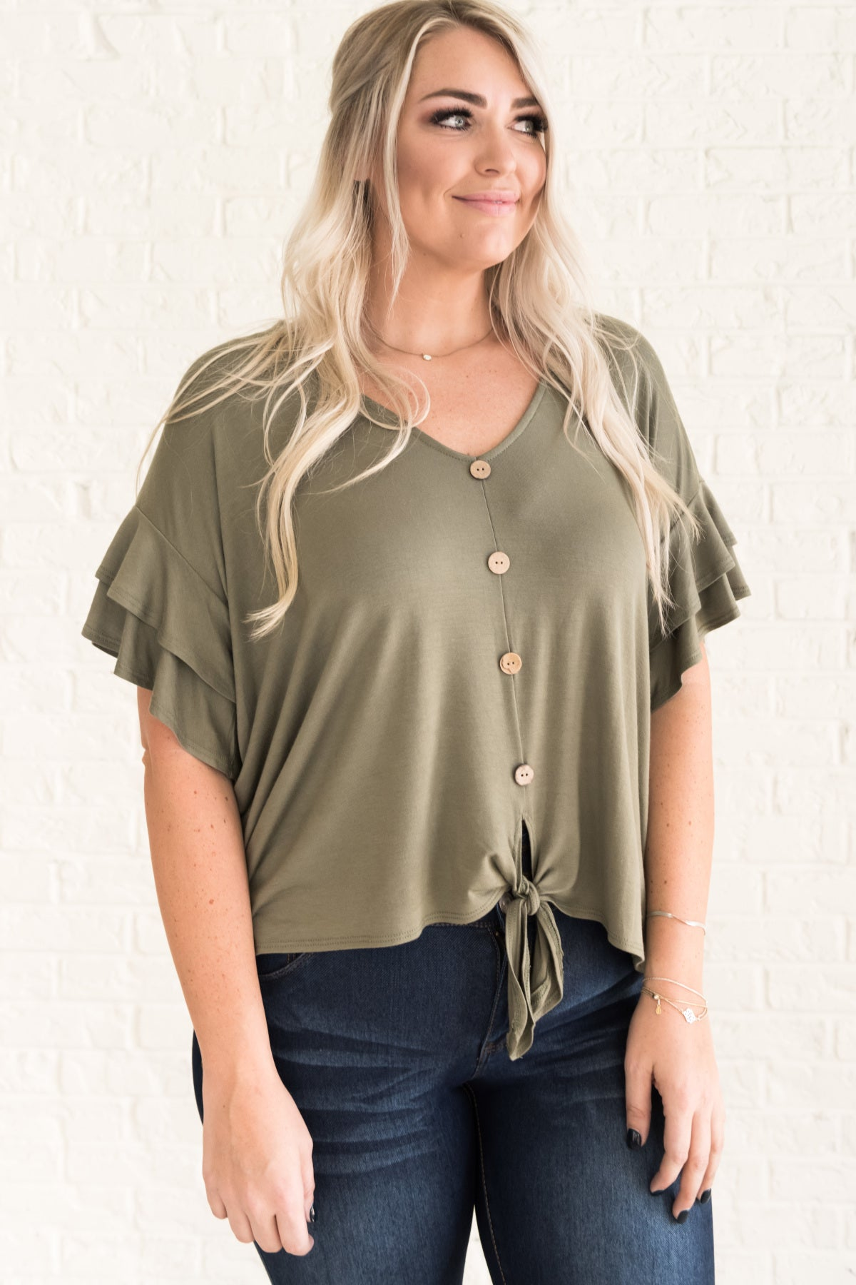 1ee9974dc84ace Olive Green Boutique Plus Size Tie Front Tops and Blouses