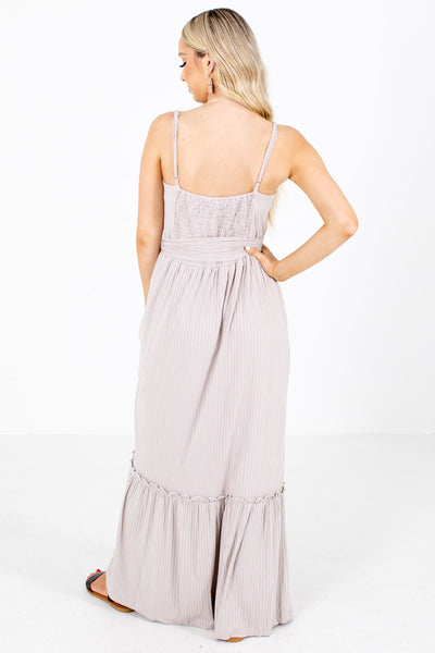Women's Taupe Waist Tie Detailed Boutique Maxi Dress