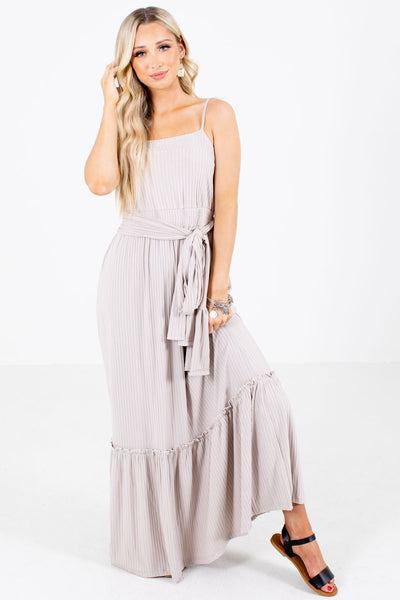 Taupe Adjustable Spaghetti Strap Boutique Maxi Dresses for Women