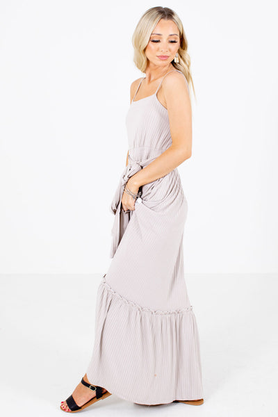 Taupe Brown Ribbed Material Boutique Maxi Dresses for Women