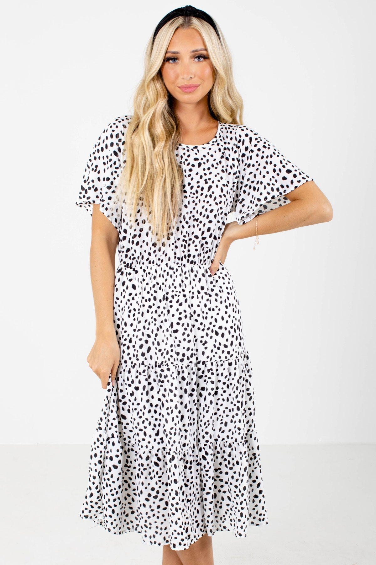White and Black Polka Dot Patterned Boutqiue Midi Dresses for Women