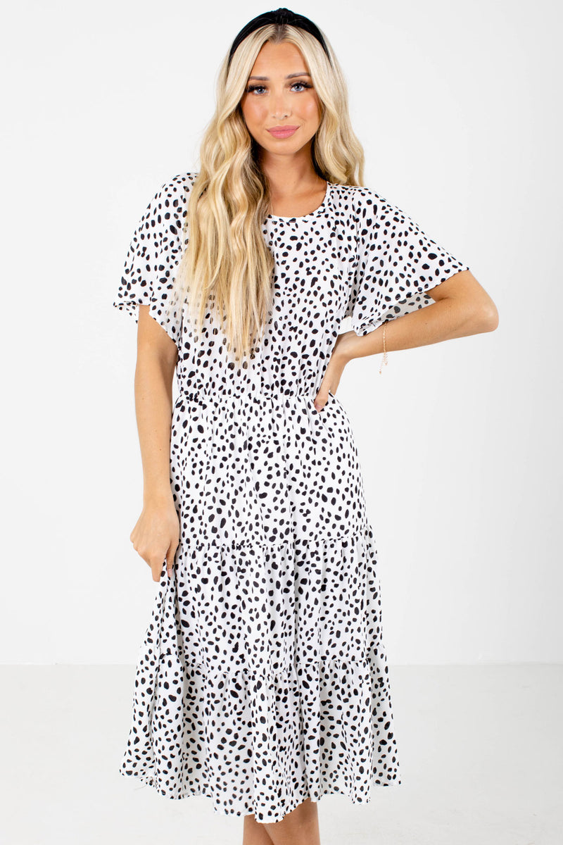 On The Spot White Patterned Midi Dress