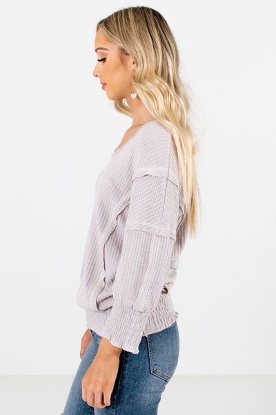 Gray Subtle V-Neckline Boutique Tops for Women