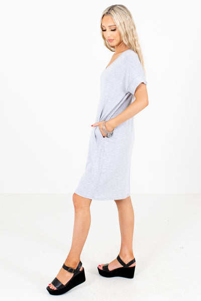 Women's Gray Casual Everyday Boutique Knee-Length Dress