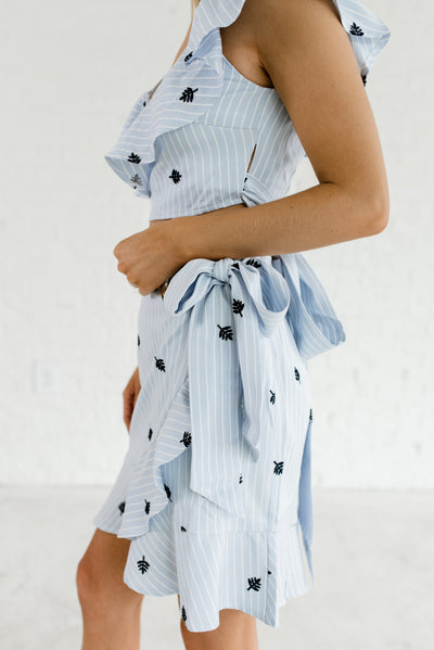Light Blue and White Striped Embroidered Boutique Two-Piece Sets for Women