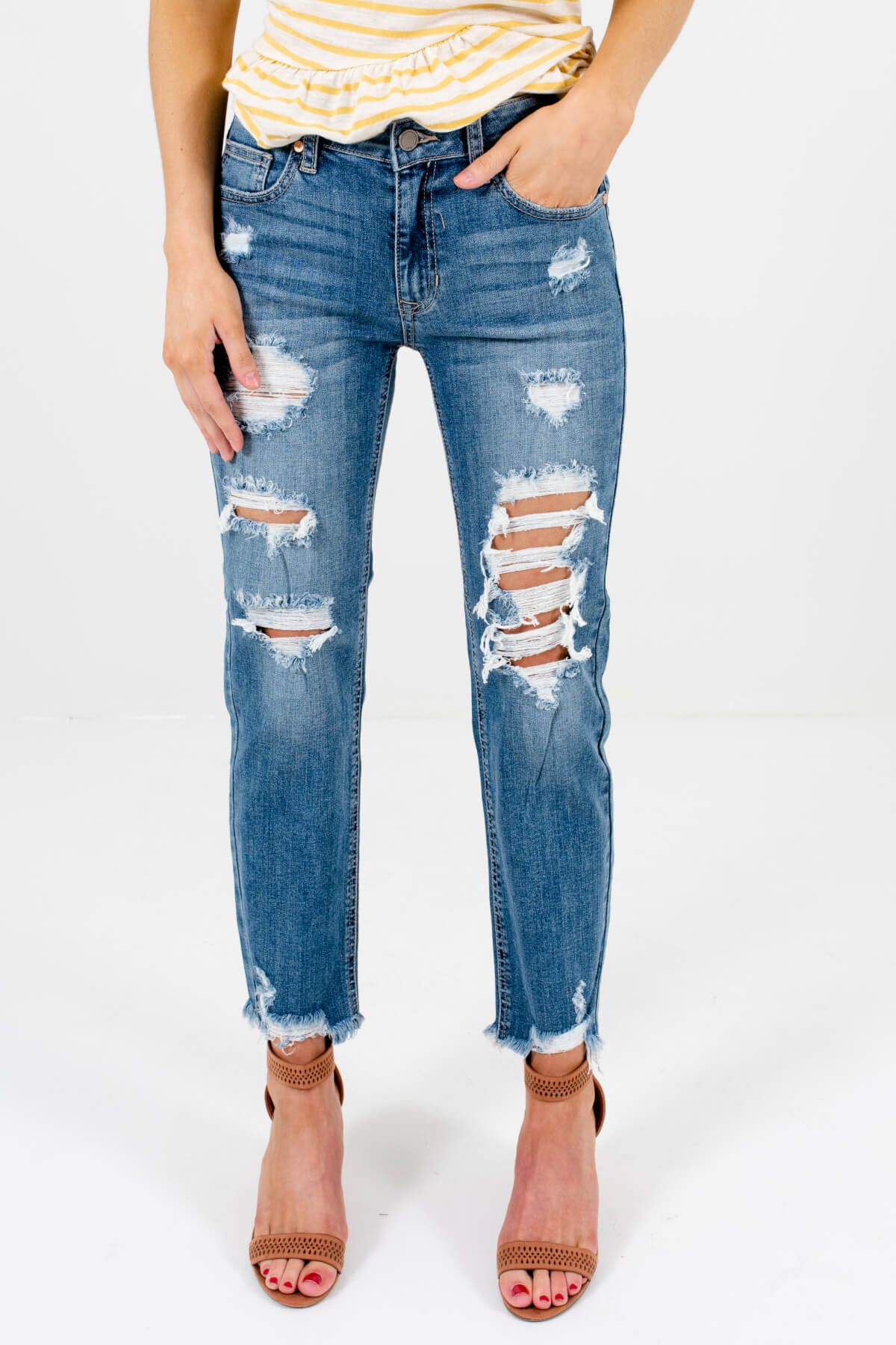 Medium Wash Denim Blue Distressed Boutique Jeans for Women
