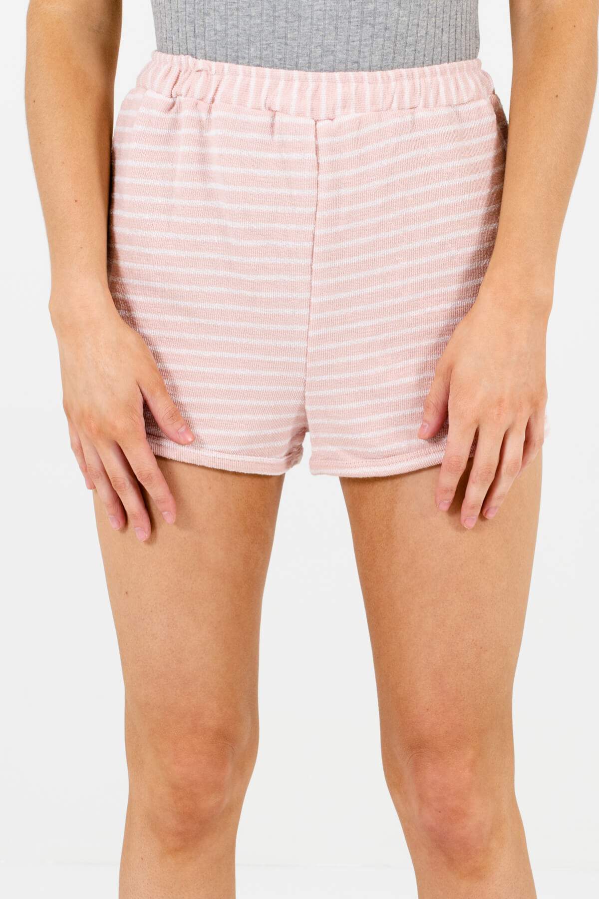 Pink and White Striped Boutique Shorts for Women