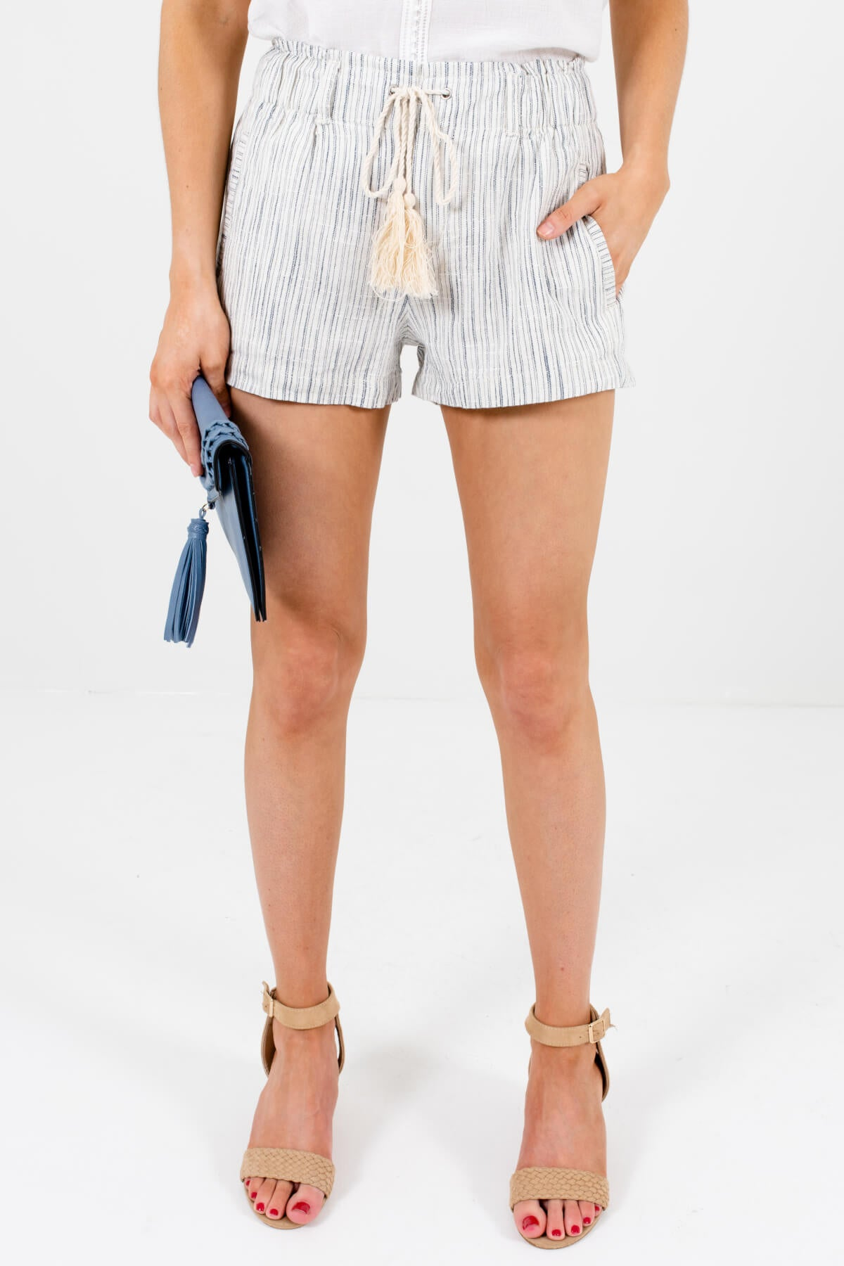 Cream and Blue Striped Boutique Shorts for Women