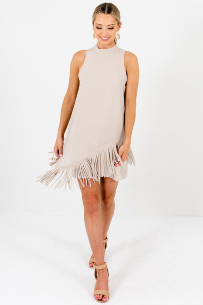 Beige Asymmetrical Overlay Fringe Mini Dresses for Women