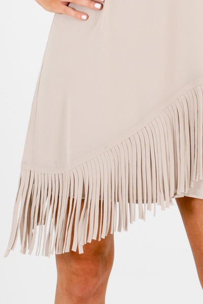 Beige Asymmetrical Split Back Overlay Fringe Mini Dresses for Women