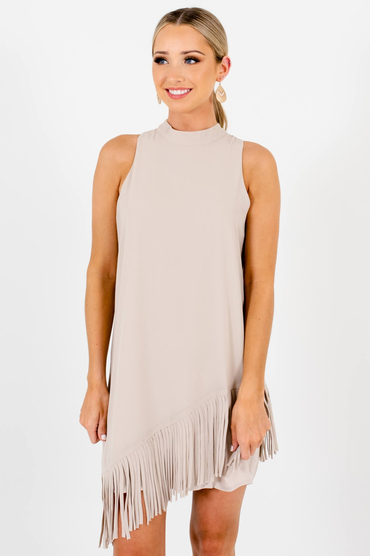 Beige Asymmetrical Overlay Fringe Mini Dresses Affordable Boutique