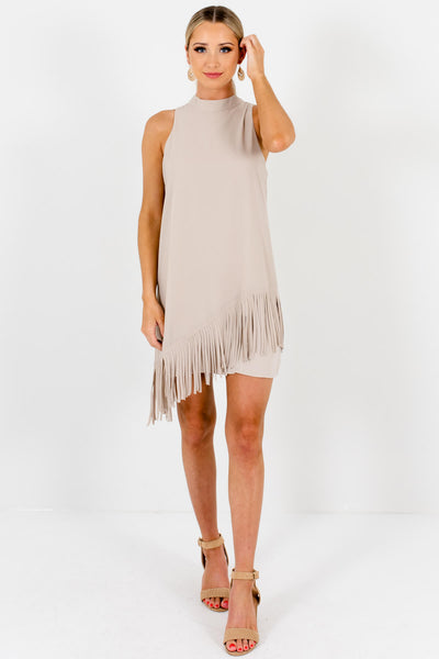 Beige Boho Chic Asymmetrical Fringe Mini Dresses for Women