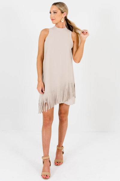 Beige Split Back Asymmetrical Fringe Mini Dresses for Women