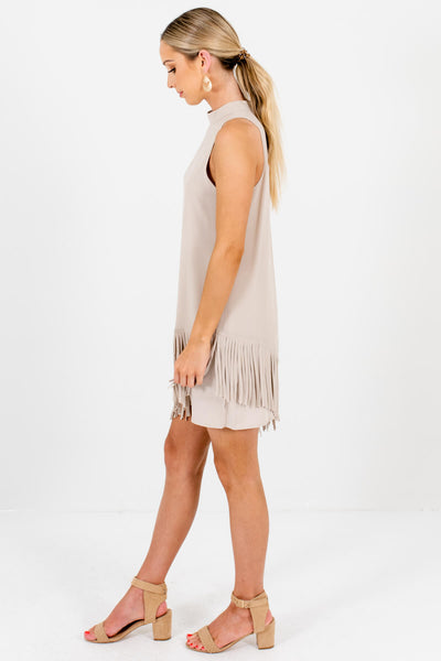Beige Fringe Asymmetrical Overlay Mini Dresses for Women