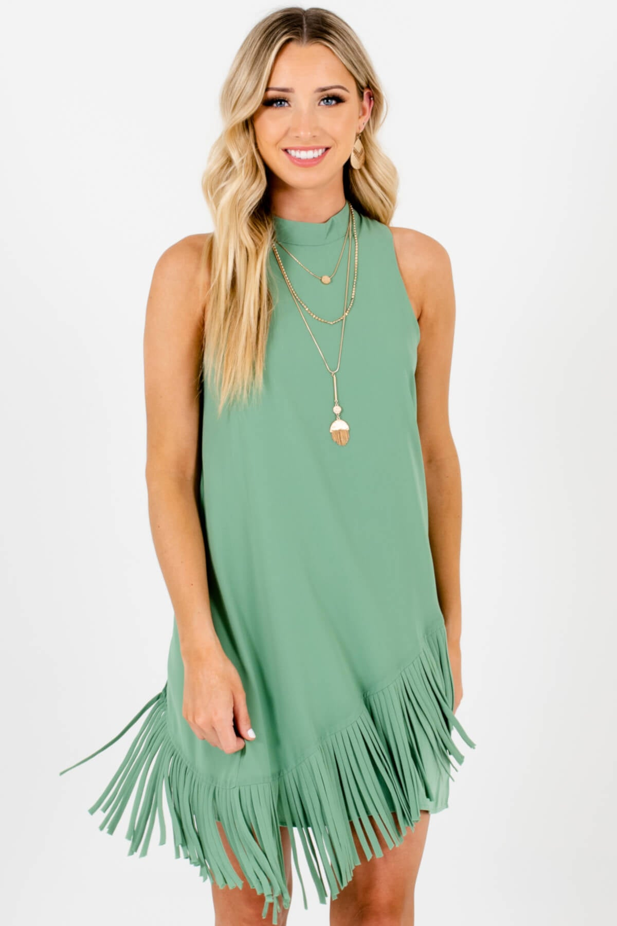 Green Asymmetrical Overlay Fringe Mini Dresses Affordable Online Boutique