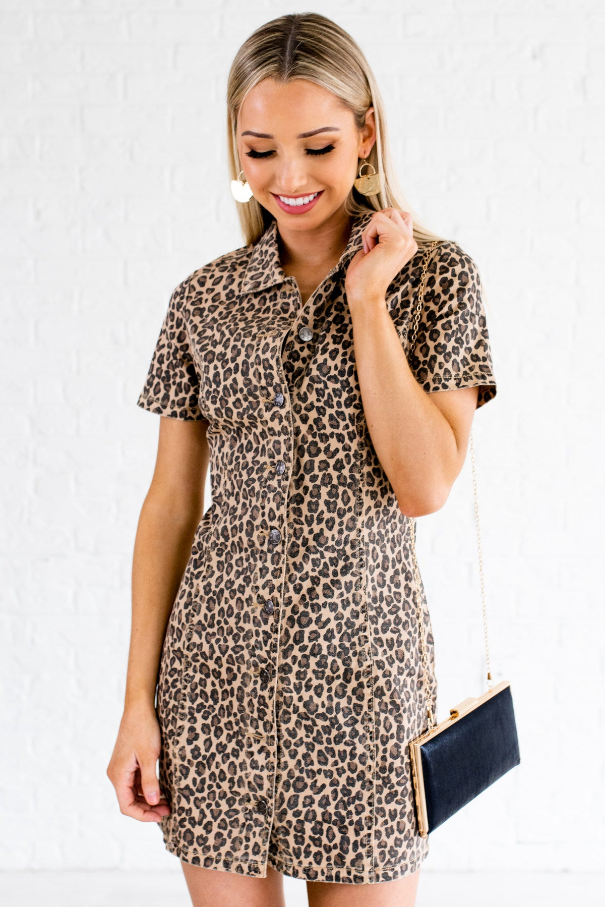 Beige Brown and Black Leopard Print Pattern Boutique Mini Dresses for Women