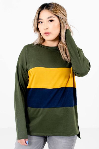 Olive Green Cute and Comfortable Boutique Pullovers for Women