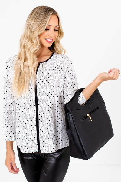 White and Black Polka Dot Patterned Boutique Blouses for Women