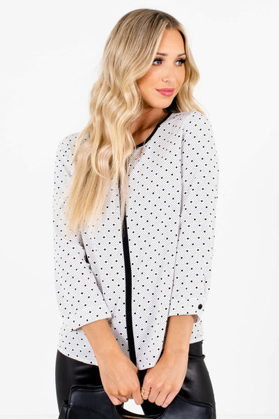 Women's White and Black 3/4 Length Sleeve Boutique Blouse
