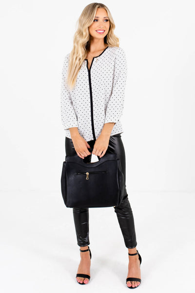 White and Black Patterned Business Casual Boutique Blouse